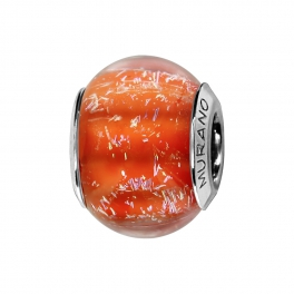 Charms argent Murano rouge